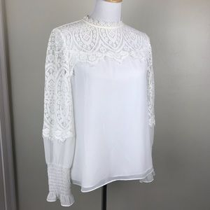 WHBM White Lace High Neckline Long Sleeve Blouse